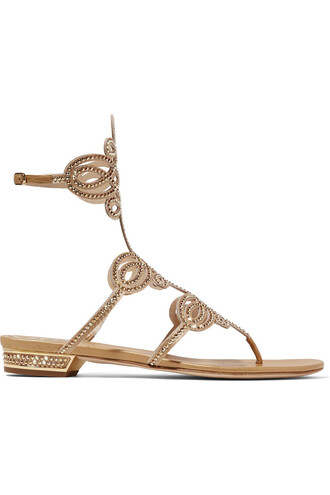 embellished sandals leather satin gold shoes