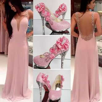 prom dress long prom dress pink dress long dress open back formal spagetti straps v neck dress dress pink long dress pink shoes flowers sequin dress silver sleeves low cut dress long pink dress pink prom dress