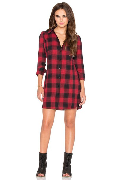Dress bobi plaid plaid dress shirt dress red plaid short dress long sleeves long sleeve ...