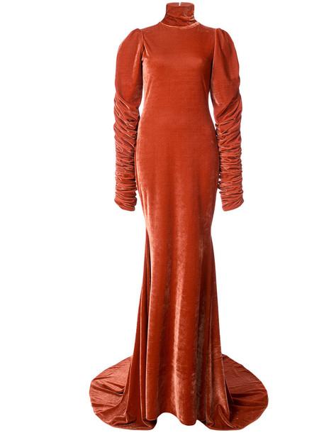 Christian Siriano gown high women high neck yellow orange dress
