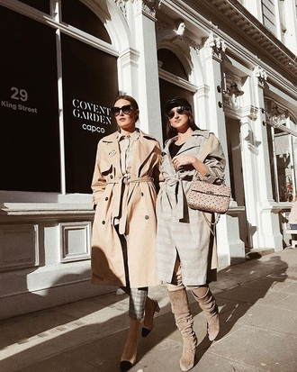 coat plaid coat boots grey boots sunglasses friends shoes trench coat camel camel coat bag streetstyle hat