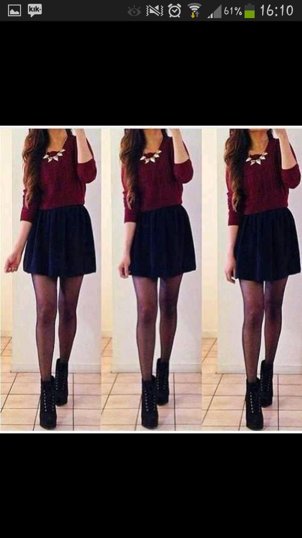 shoes black high heels skirt shirt sweater