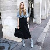 shoes,midi skirt,black,grey,top,blogger,fall outfits