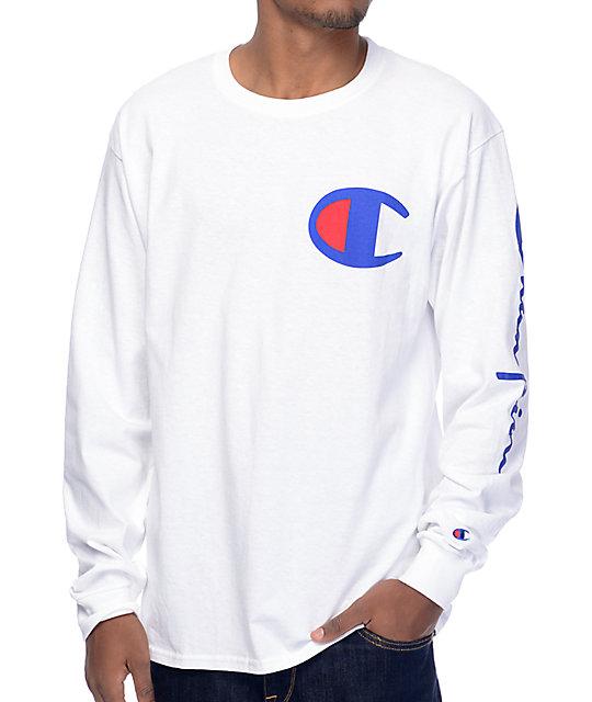 07bbe8589 Champion Script Sleeve White Long Sleeve T-Shirt