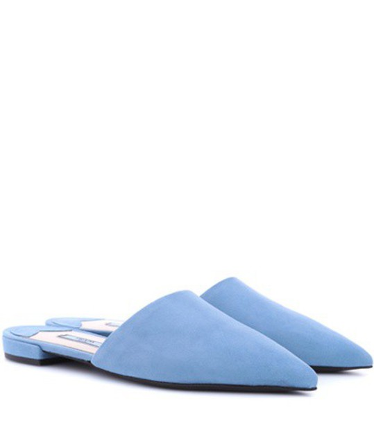 Prada slippers suede blue shoes