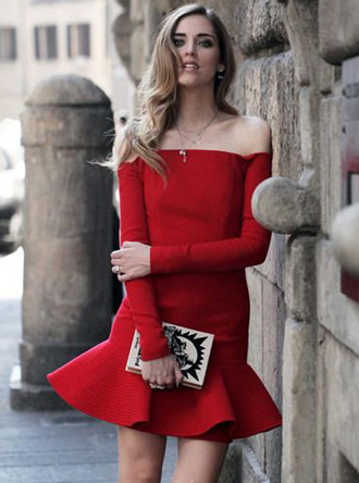 dress bqueen fashion girl red sexy party chic elegant evening dress bandage flounced hem off the shoulder fishtail