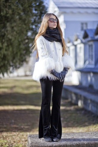 acid coke blogger scarf sunglasses prada flare pants fuzzy coat