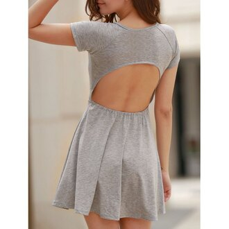 dress grey open back cute girly casual rose wholesale-ap fashion style trendy summer spring skater skirt gamiss grey dress skater dress backless