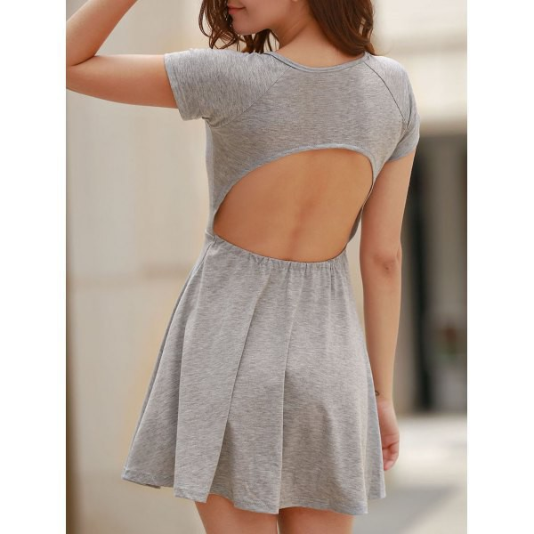 dress grey open back cute girly casual rose wholesale-ap fashion style trendy summer spring skater skirt gamiss grey grey dress skater dress backless