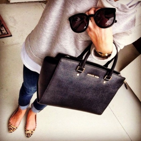 shoes flats fashion sweater jeans sunglasses bag leopard inspirations michael kors