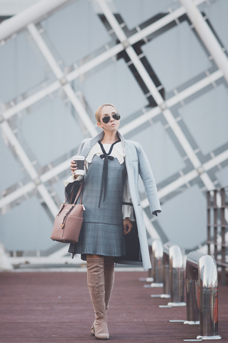my blonde gal blogger blouse bag dress sunglasses shoes fall outfits knee high boots nude bag grey coat mini dress