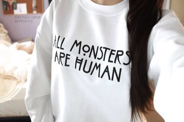shirt sweater american horror story american horror story normal people scare me white cream comfy sweatshirt sweater pull white american horror story american horror story sweater