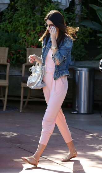 jumpsuit kendall jenner sandals bag shoes