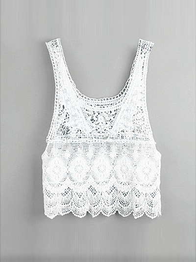 White lace crochet hollow tank top