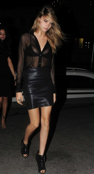 cara delevingne shoes skirt blouse