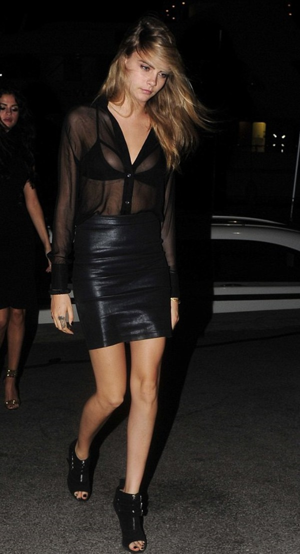 blouse skirt shoes cara delevingne
