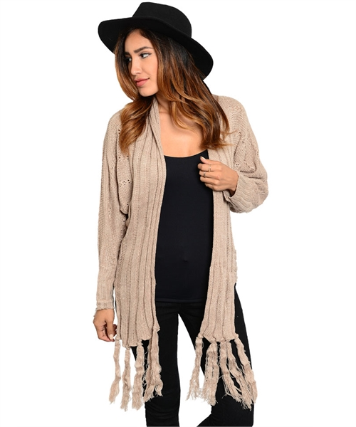 Womens light brown mocha cable knit open cardigan sweater fringe accents · noirstar boutique · online store powered by storenvy
