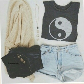 tank top gray yin yang shirt