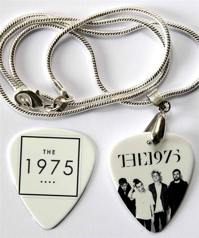 The 1975 Two Sided Guitar Pick Necklace   Matching Plectrum