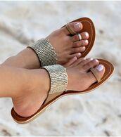 shoes,sandals,metallic,tan sandals,tan,bronze,flats,gold,summer
