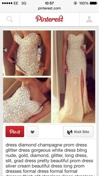 dress champagne dress prom dress diamanté beaded slit side