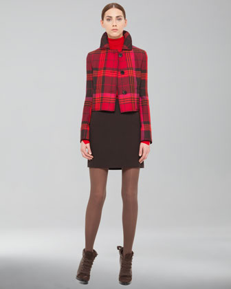 Akris punto Cropped Plaid Jacket, Slit-Trim Turtleneck Sweater & Kilt-Back Miniskirt - Bergdorf Goodman