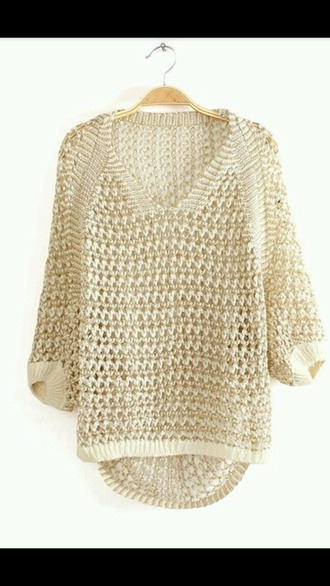 white gold sweater hollow out v-neck