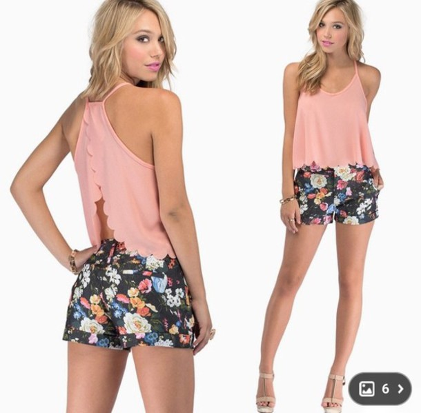 shorts summer outfits flower shorts tank top