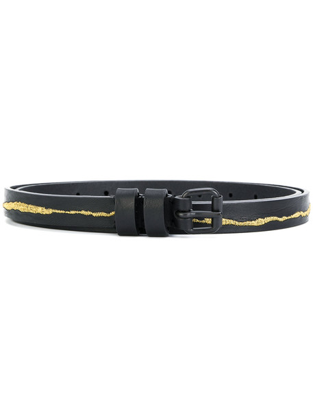 metallic belt black