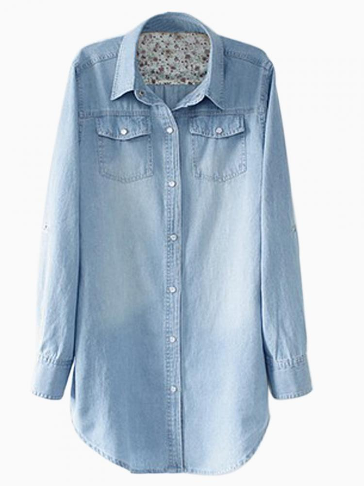 Longline Oversize Denim Shirt in Light Stonewash | Choies
