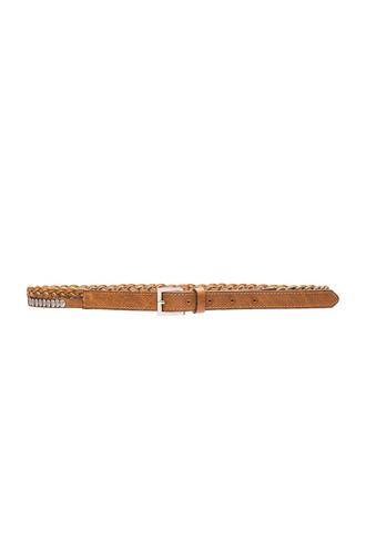 metallic braided belt brown