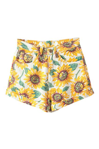 Sunflower Print High-waist Denim Shorts | Pariscoming