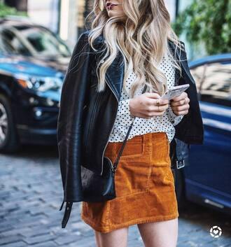 skirt tumblr mini skirt mustard top polka dots jacket leather jacket black leather jacket