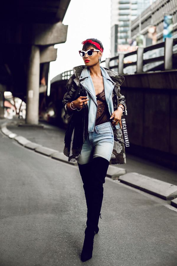 micah gianneli jacket jeans sunglasses jewels bag shoes