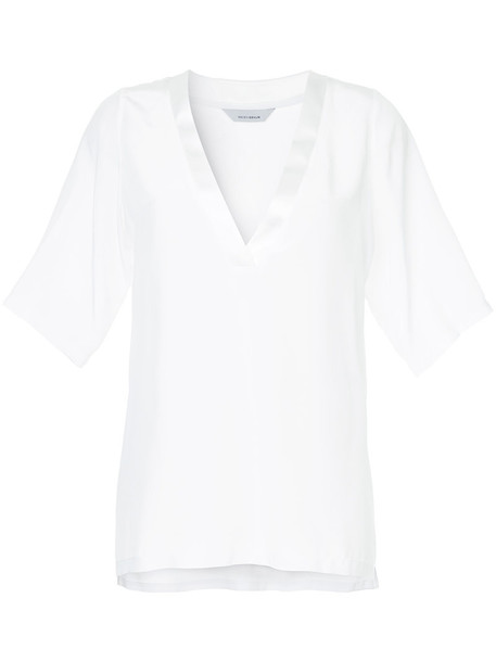 Kacey Devlin blouse women white silk top
