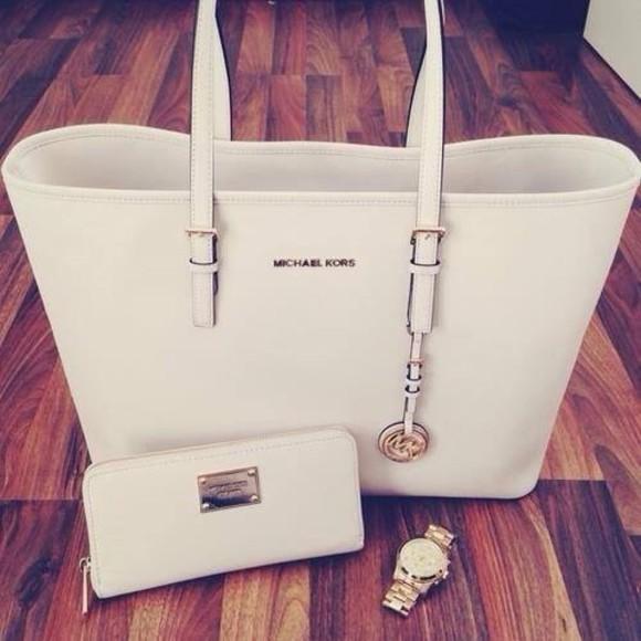 bag white bag purse michael kors michael kors watch golden watch watch wallet white cream