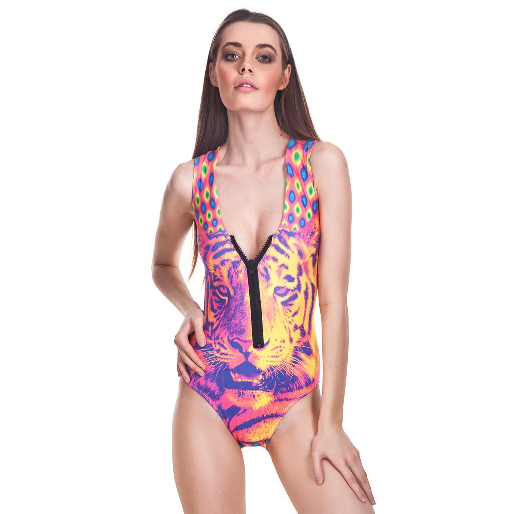 Crazy tiger zip-up swimsuit
