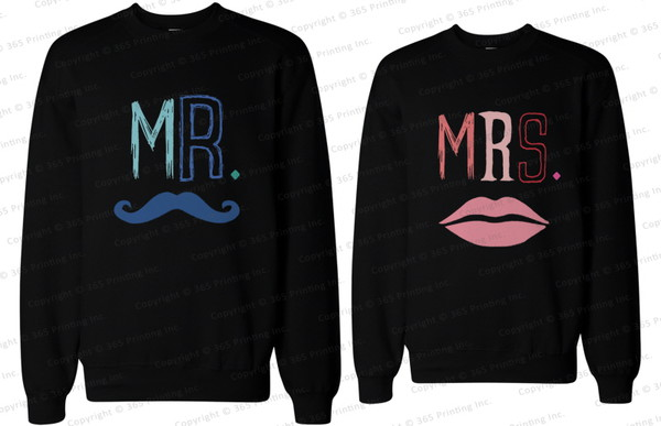mr mustache mrs lips mr and mrs shirts mr and mrs sweatshirts mr and mrs mustache shirts newlyweds gifts his and hers gift his and hers sweatshirts his and hers clothing his and hers wear couple matching couples matching sweatshirts for couples matching couple sweatshirts matching sweatshirts couple sweaters couple sweaters