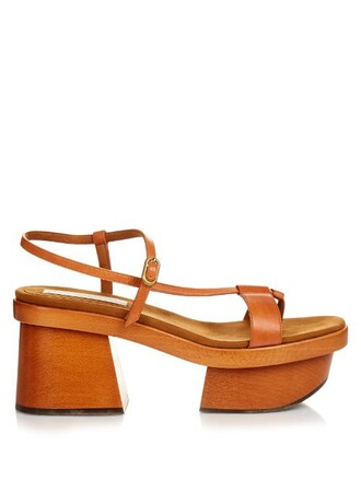 heel sandals platform sandals leather tan shoes