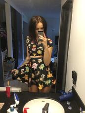 skirt,pokemon,acacia brinley,top,dress,high waisted skirt,t-shirt,black dress,grunge,indie,two-piece,kawaii,lolita,crop tops,shirt,jumpsuit,pokemons,black skirt,bright,grungy,grunge top,grunge dress,soft grunge,mainstream,black crop top,black top,pokeball,love,lovely,swag top,all black everything,cartoon,printed crop top