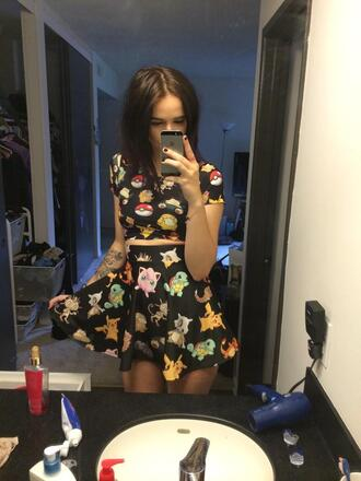skirt pokemon acacia brinley top dress high waisted skirt t-shirt black dress grunge indie two-piece kawaii lolita crop tops shirt jumpsuit pokemons black skirt bright grungy grunge top grunge dress soft grunge mainstream black crop top black top pokeball love lovely swag top all black everything cartoon printed crop top