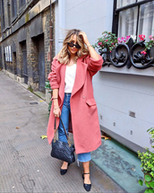 coat,tumblr,pink coat,jeans,denim,blue jeans,cropped jeans,shoes,bag,sunglasses,t-shirt,white t-shirt,waterfall coat
