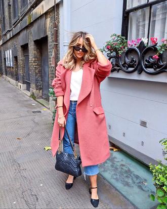 coat tumblr pink coat jeans denim blue jeans cropped jeans shoes bag sunglasses t-shirt white t-shirt waterfall coat