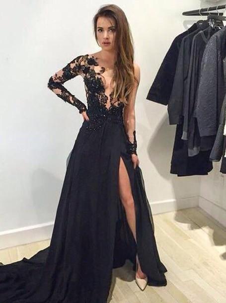 Long sleeve lace long dresses