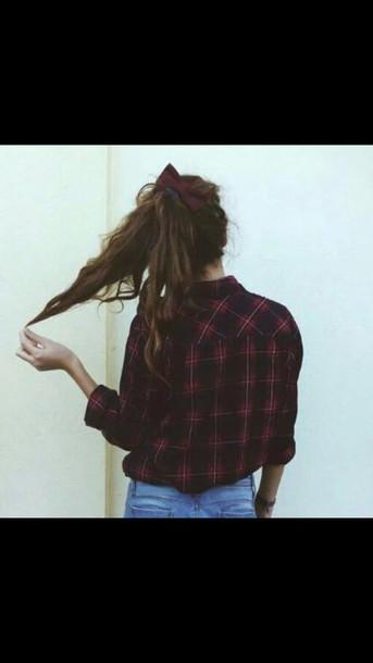 shirt chemise carreaux rouge noir boho
