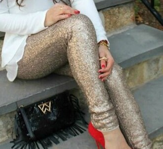 pants gold sparkle christmas festive holidays sequins