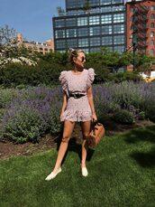 dress,purple,bag,shoes,white flats,belt,black belt,sunglasses