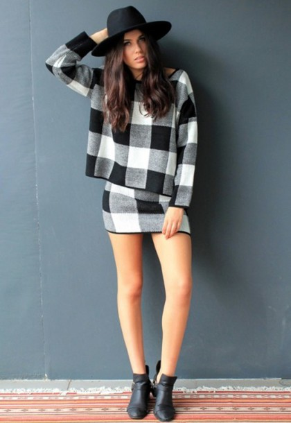 ba169aa0c858 dress divergence clothing monochrome cozy sweater mini skirt black and white  skirt oversized sweater fall outfits