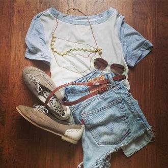 shirt baseball tee blue baby blue white shoes sunglasses necklace belt