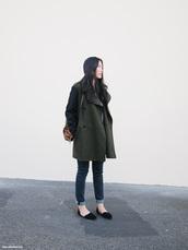 andy heart,coat,bag,sweater,jeans,shoes,masculine coat,cuffed jeans,blue jeans,denim,grey coat,backpack,black flats,flats